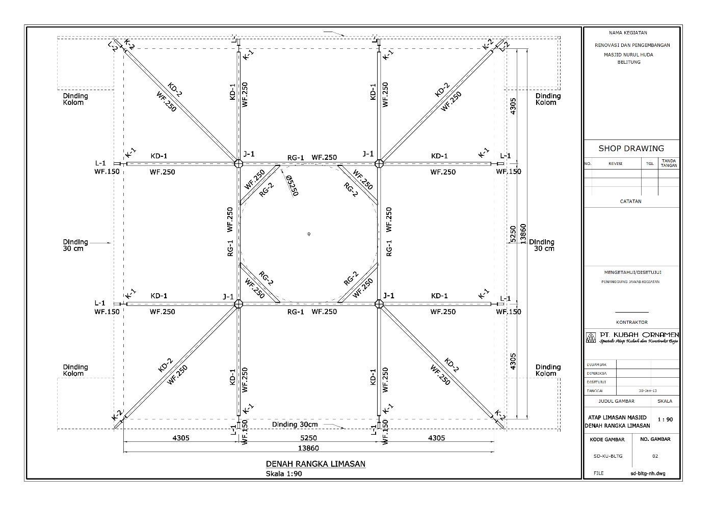 Desain Konstruksi Baja Atap WF